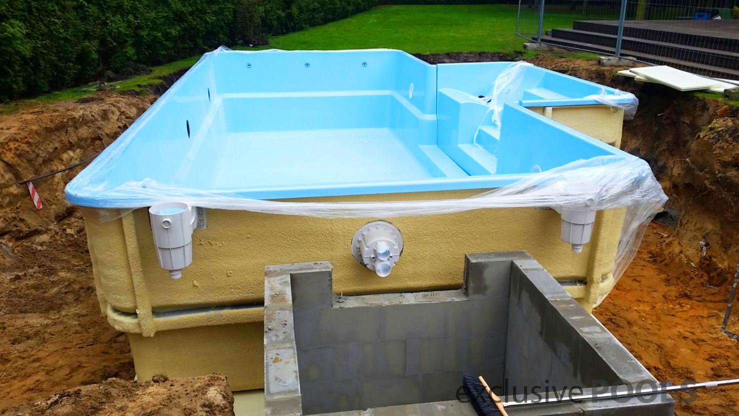 K in ground fiberglass polyester garden swimming pool for Garden swimming pool ebay