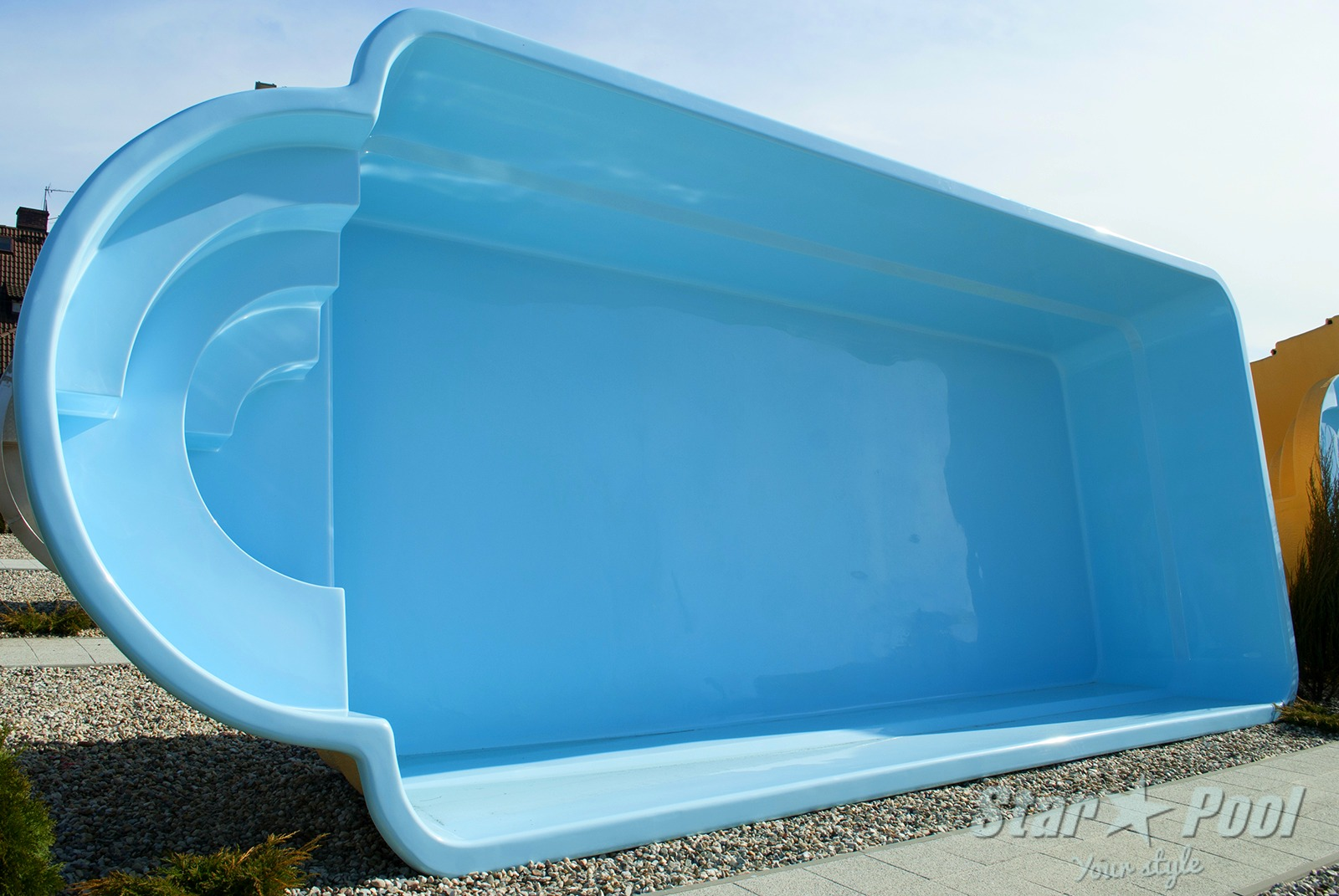 K in ground fiberglass polyester garden swimming pool for Pool design company polen